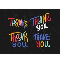 Collection of four custom colorful thank you words vector