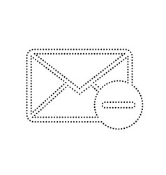 Mail sign   black dotted icon vector