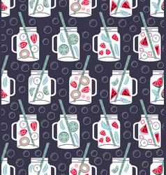 Detox water in drinking jars seamless pattern vector