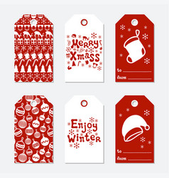 christmas and new year gift tags cards xmas set vector image