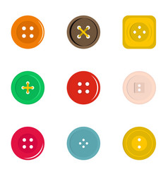 clothes button icon set flat style vector image