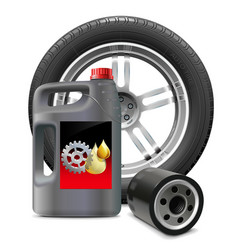 Engine oil with oil filter and tire vector