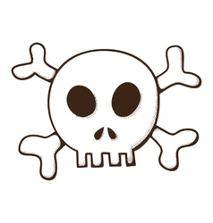 Skull and bones jolly roger symbol vector