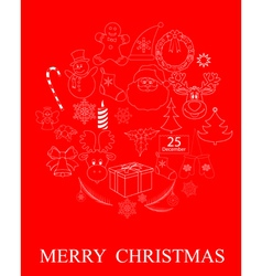 red Christmas symbols vector image