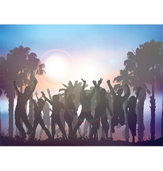 Sunset party background with palm trees vector