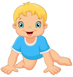 Cartoon little boy crawling vector