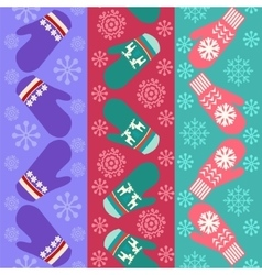 Christmas pattern with mittens - vector