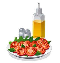 Tomatoe salad and cooking oil vector