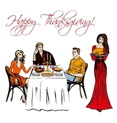 Thanksgiving dinner isolated vector
