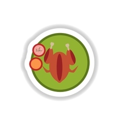 Stylish paper sticker roasted chicken on a plate vector