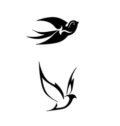 Black stylized of birds vector