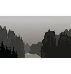 Silhouette of cliff vector image