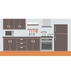 Background of kitchen with appliances vector
