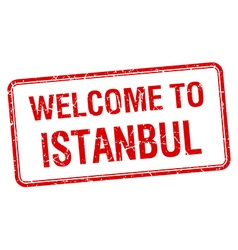 Welcome to istanbul red grunge square stamp vector