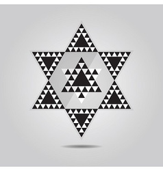 Abstract geometrical triangle tile hexagram icon vector