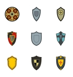 Army shield icons set flat style vector