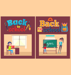 Back to school poster pupil and teacher at desk vector