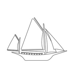 Boat flat icon and logo outline vector