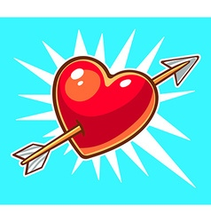 bright red heart pierced by an arrow on b vector image
