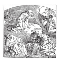 Christ in the garden of gethsemane vintage vector
