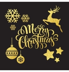 Christmas gold glitter elements vector image vector image