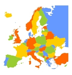 Colorful blank map of Europe vector image