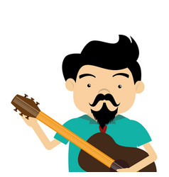 Colorful half body singer with acoustic guitar vector