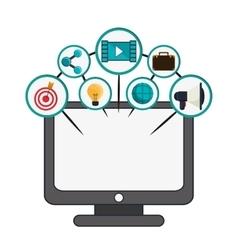 Computer social network media icon set vector