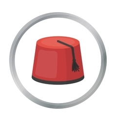 Fez icon in cartoon style isolated on white vector image vector image