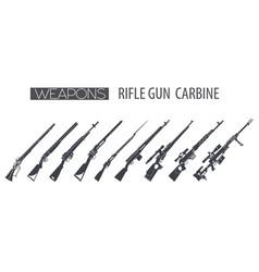 Firearm set gun rifle carbine flat design vector