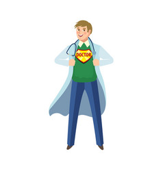 Flat male super doctor with sthetoscope vector