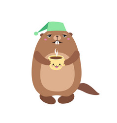 groundhog holding a cup of coffee flat vector image vector image