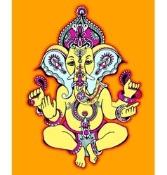 Hindu lord ganesha ornate sketch drawing tattoo vector