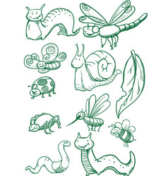 insects set vector image