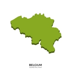 Isometric map of Belgium detailed vector image