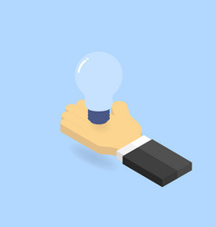 light bulb in hand businessman isometric vector image vector image