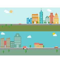 Modern banner set of urban landscape and city life vector image