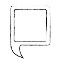 Monochrome sketch of square speech with tail to vector