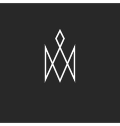 Monogram crown logo royal cute princess symbol vector