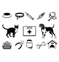 Pets veterinary medicine icons vector