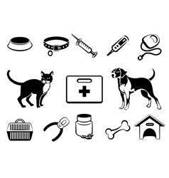 Pets veterinary medicine icons vector image vector image