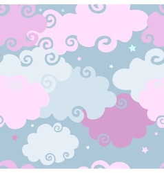 Pink clouds seamless background vector