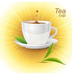 Realistic tea cup vector