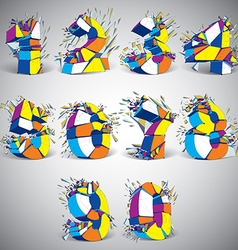 Set of abstract 3d faceted colorful numbers with vector
