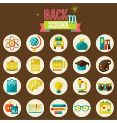 set of flat school icons vector image