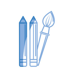 Silhouette pencils and art paint brush tool vector