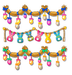 straw garland with easter eggs and paper bunnies vector image vector image