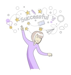 Successful woman dancing vector