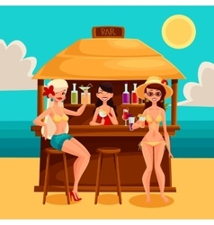 Summer vacation a beach bar by the sea vector image