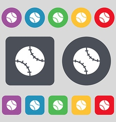 Tennis ball icon sign a set of 12 colored buttons vector